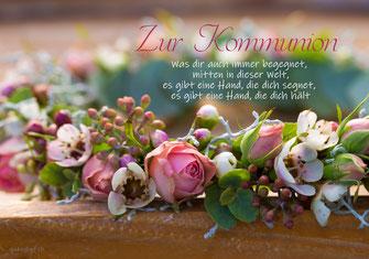 Glückwunschkarte zur Erstkommunion, Kommunion, mit kindgerechtem Spruch, Spruchkarte Kommunion