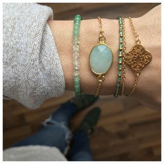 EVAMARIAjewelry handgemachte vergoldete Armbänder aus Edelsteinen, Smaragd, Onyx, Aventurin und Quarz, modern, trendig, Instagram