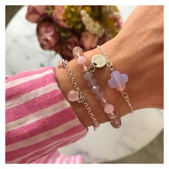 Handgemachte Armbänder von EVAMARIAjewelry in rosa und versilbert, trendig und modern, instagram