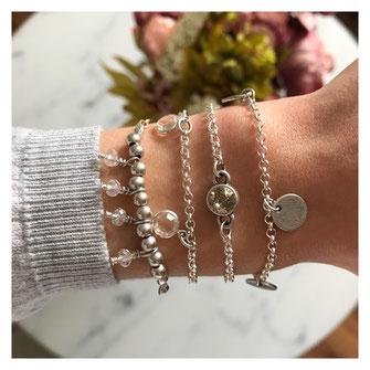 Handgemachter Schmuck von EVAMARIAjewelry, versilberte Armbänder mit Anhängern aus Glas oder Swarovski Steine, trendig und modern