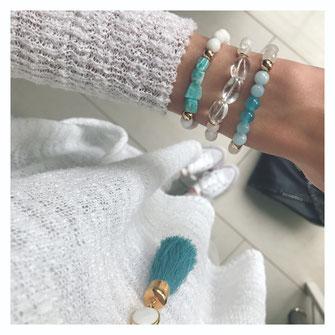 türkis, weiß, sommer, strand, meer, schmuck, armbänder, trendig von evamariajewelry,hingucker