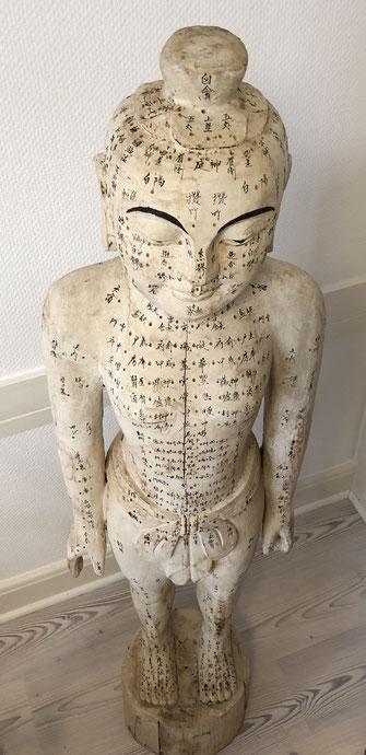 Akupunkturpunkte an einem Holzmodell