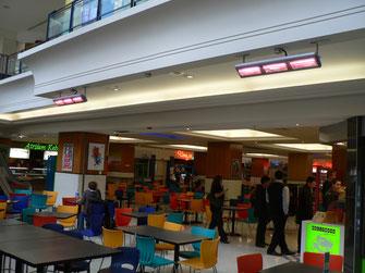 Heizstrahler in einem Einkaufszentrum