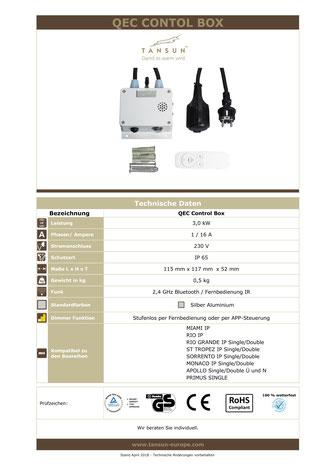Technische Details Bluetooth Dimmer Heizstrahler