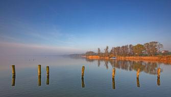 Leinwandbild 30 x 20 cm - Sonnenaufgang am Ratzeburger See