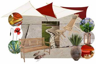Planche d'ambiance terrasse et jardin