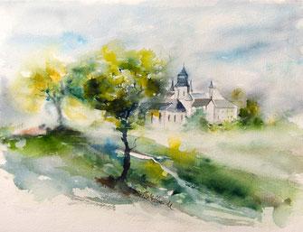 Aquarelles de monuments du Val de Loire