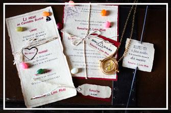 Invitation de mariage, menu et marque place, organisation et décoration de mariage par Daydream Events, thème Harry Potter