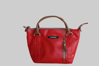 lady handbag in red tarpaulin from 7clouds Jelena