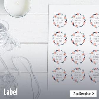 Schöne florale Deko-Label für Geburtstage, Taufe, Kommunion oder anderen Festen. Zum selber ausdrucken.