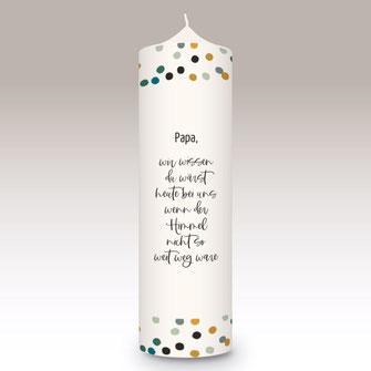 moderne und individuelle Trauerkerze machs-licht-an Kerzenshop Stumpenkerze Trauerfeier Kirche #mla