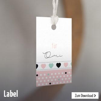 Label zum Ausdrucken zur Dekoration oder als Anhänger für Geschenke zur Taufe, Kommunion oder zum Geburtstag