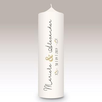 moderne und individuelle Hochzeitskerze Hochzeit machs-licht-an individuell Stumpenkerze selbstgemacht Standesamt Kirche Hochzeitsbrauch Geschenk Dekoration Kerze deko Trauung Trauspruch Kerzenshop #machs-licht-an Heide Ringe Lila