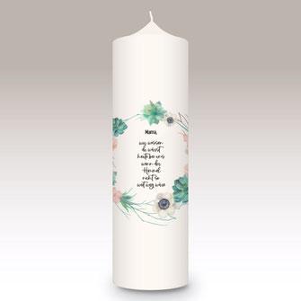 moderne und individuelle Trauerkerze machs-licht-an Kerzenshop Stumpenkerze Trauerfeier Kirche schlicht schön Trauer