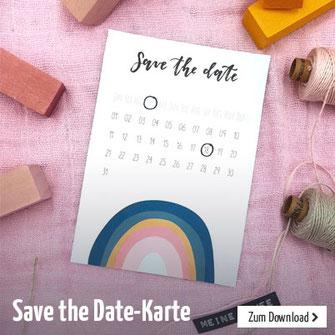 Schöne Save the Date Karte mit Regenbogen-Motiv und Handlettering. Perfekt für die Taufe und andere Feiern