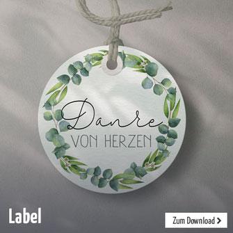 Deko-Label zum Ausdrucken für die Dekoration der Taufe, Kommunion oder anderen Feiern