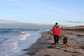 Leon und Herrchen am Strand