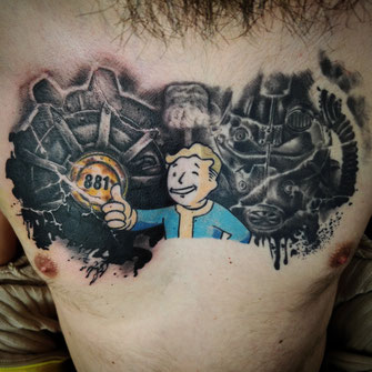 fallout 4 pip boy brust chest  josh vangore death and decay hamburg altona tattoo tätowierung