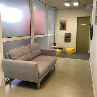 Salle d'attente cabinet d'ostéopathie Ancenis