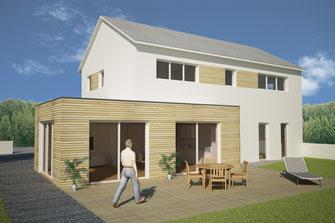 Architektur Modern Satteldach Grundrisse Visualisierung