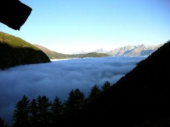mar de nubes, Valais