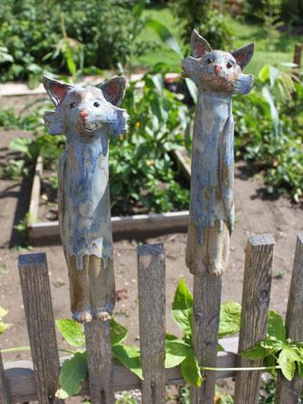 Keramik Katzen-Paar in blau