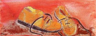 Wüstenschuhe, mit echtem Namibsand, Acrylbild von silvanillion