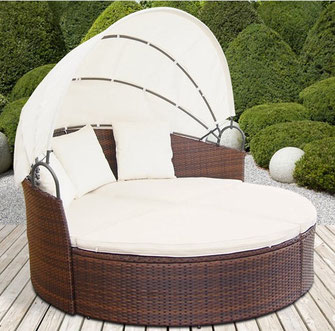 divano giardino rattan polyrattan tondo cupola