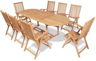 tavolo + sedie +teak +legno +giardino +esterni