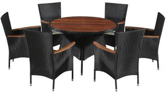 set giardino +acacia +sedie +outdoor +polirattan +6 +tavolo #rattan