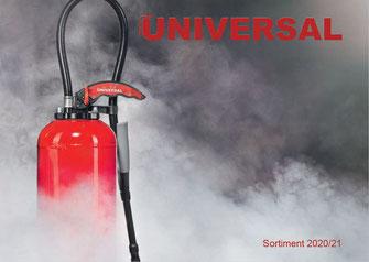 Universal Feuerlöschgeräte, Katalog, Sortiment, Löschposten, Feuerlöscher, Rauchmelder, Löschdecke, Bern