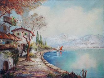 Künstenpanorama - Ölgemälde - Landschaft-Urlaubsszenerie