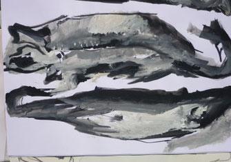 Pescalito 13, 2 Fische, Papier/Gouache, schwarz-weiß