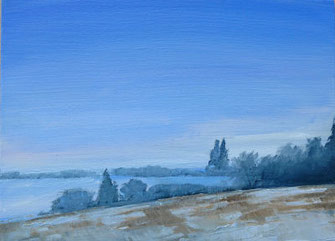 Winterlandschaft, Ölbild, Blau braun, wald, wiesen