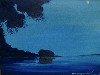 Tagesbild, Fischerhütte, Abend, Mond, Ufer, dunkelblau