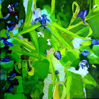 Abstrakte Tulpenbilder, grün, blaue blüten