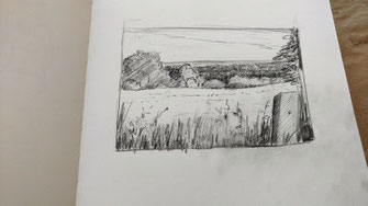 Landschaft, Bleistift, Hell-Dunkelwerte weiter verstärken