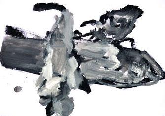 Pescalito 6, 3 Fische in schwarz-WeißPapier/Gouache/Ölkreide