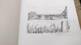 Landschaft, Bleistift, Hintergrund und Himmel betonen