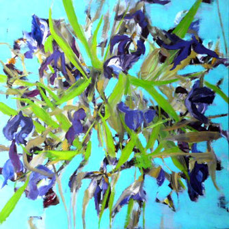 Tulpen, abstraktion, coelinblau, Grün, violett