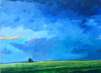 Landschaft, grün, blau, baum