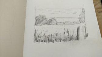 Landschaft, Bleistift, Konturen einsetzen