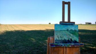 Landschaft bei Kaufering, Pleinairmalerei
