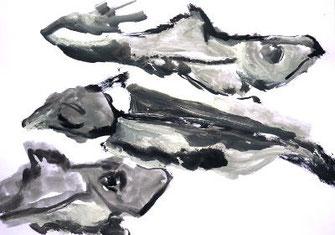 Pescalito 9, schwimmende Suppenfische, Papier/Gouache