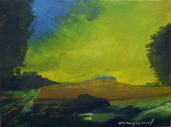 Landschaft, gelber Himmel, Bäume und wiesen