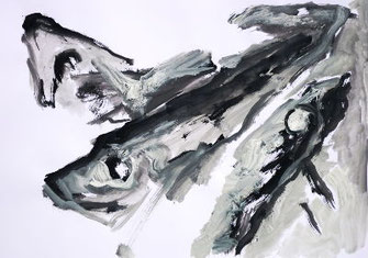 Pescalito 5, Papier/Gouache/Ölkreide, 3 Suppenfische