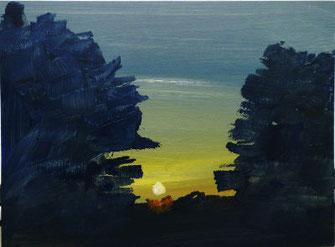 Sonne, gelb, Horizont, Bäume