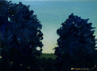 2 Bäume, dunkelblau, horizont am lech