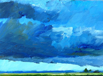 Landschaft, viel Himmel, wenig erde, grün, blau