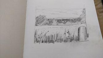 Landschaft, Bleistift, Konturen verstärken